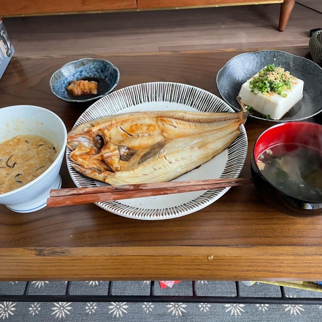ダイエットボディメイク朝食例(お魚はいいぞ)