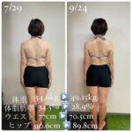 女性2ヶ月ダイエットビフォーアフター(久留米パーソナルトレーニングジム)