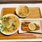 ほっけ、きんぴらごぼう、白菜ときのこのスープ(ダイエット夜ご飯例)