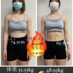 学生・女性2ヶ月ダイエットボディメイク、ビフォーアフター(福岡パーソナルトレーニングジム)